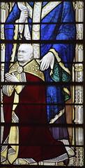 John Polycarp Oakey at the feet of St Polycarp (Ninian Comper, 1927)