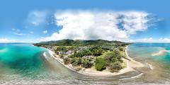 Hau'ula in Ko'olauloa, Windward O'ahu as seen from 169 feet up - an aerial 360 Equirectangular VR