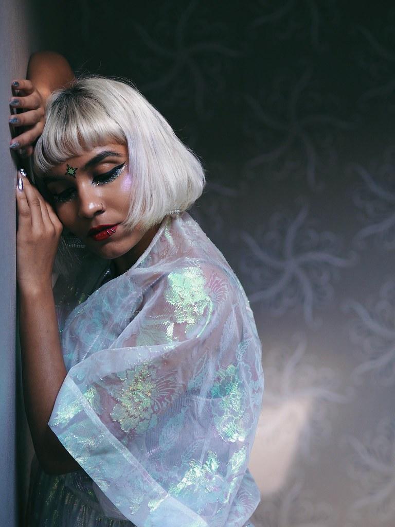 Alternative punk South Asian Desi Indian with platinum blonde hair