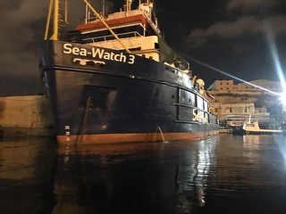 One of the detained SeaWatch vessels in the Malta.