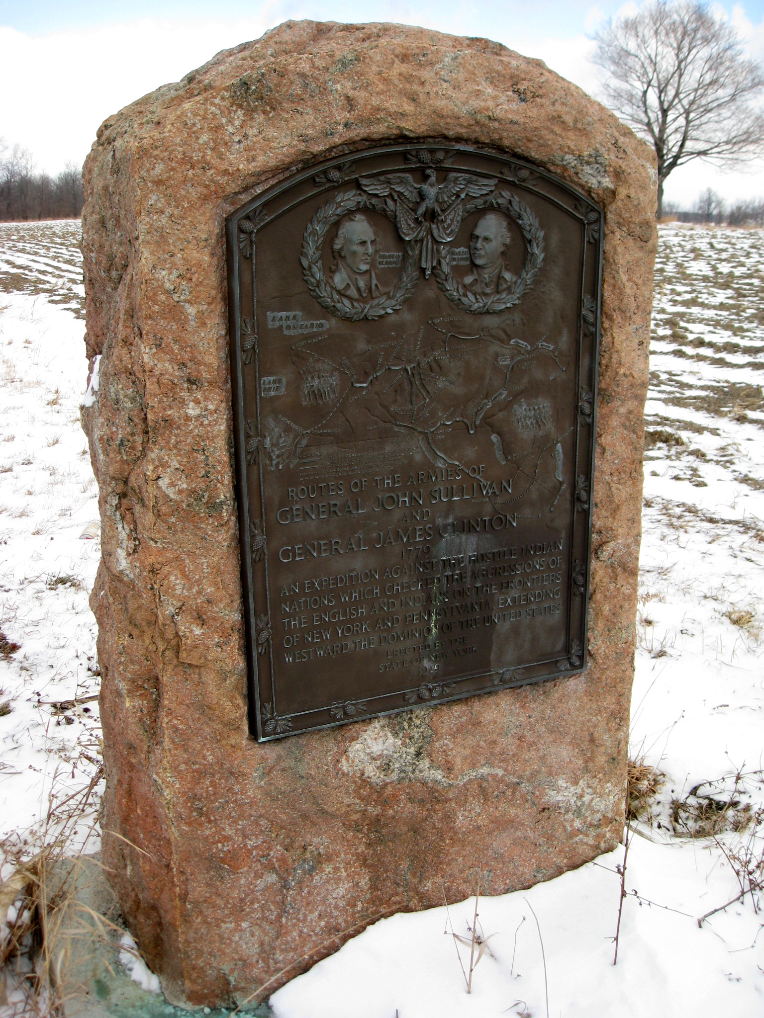 Commemorative plaque erected by the state of New York in 1929 of The Sullivan Expedition depicting the routes of the armies of General John Sullivan and General James Clinton. The plaque stands in Lodi, New York just of Rt. 414. Photo taken by Brian Adler on January 3, 2009.