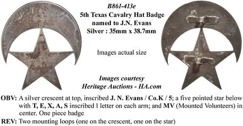 B861-431e - 5th Texas Cavalry Hat Badge