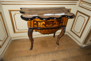 Antique table with elaborate marquetry