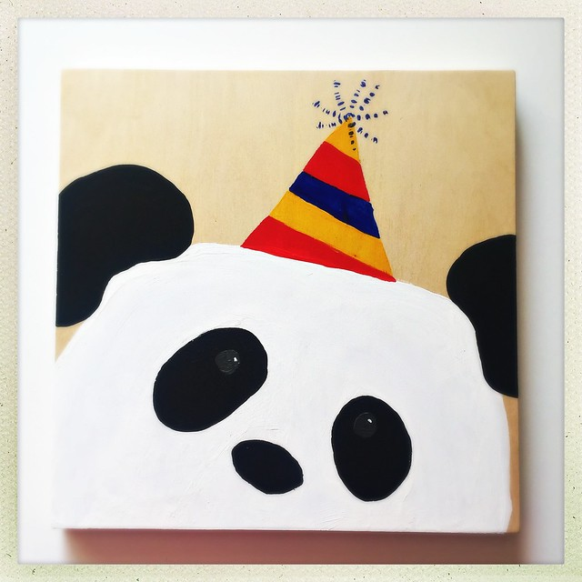 Birthday Bear. Panda Painting.
