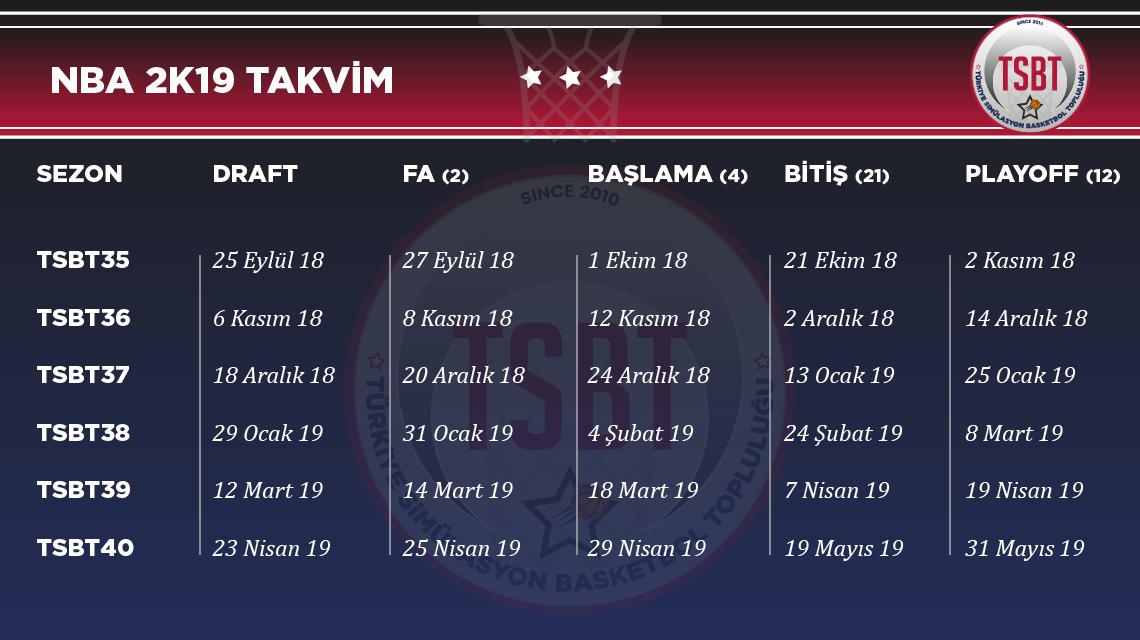 NBA 2K19 TSBT Sezonları Takvim