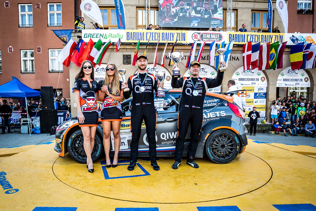 01 Lukyanuk Alexey, Arnautov Alexey, RUS/RUS, Russian Performance Motorsport, Ford Fiesta R5, podium ambiance during the 2018 European Rally Championship ERC Barum rally,  from August 24 to 26, at Zlin, Czech Republic - Photo Thomas Fenetre / DPPI