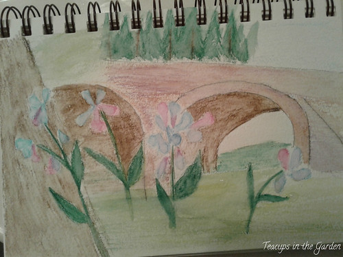 My Watercolor via watercolor pencils Bluebells at Old Stone Bridge Manassas Battlefield