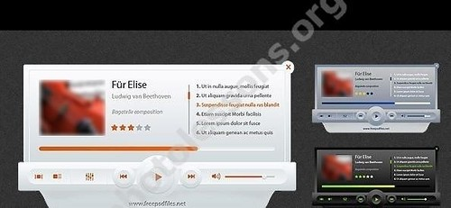 Media player in PSD format for Photoshop editor