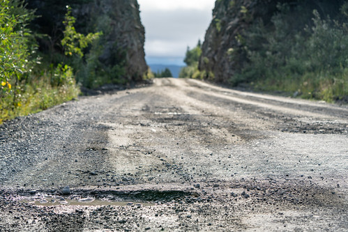 Potholes and the McCarthy Road in Alaska