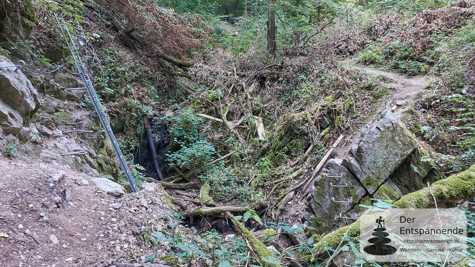 Anstelle Brücke: Eisensteige in der Kreuzbachklamm