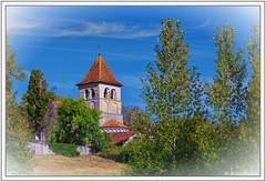 L'église derrière les peupliers - Photo of Combiers