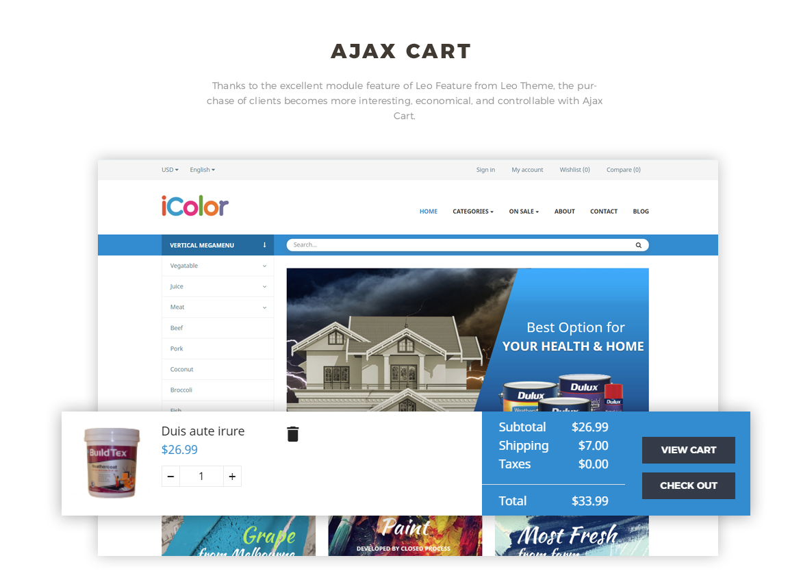 ajax add to cart - Prestashop 1.7 theme for paint website