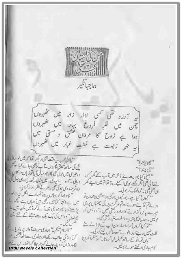 Man Ki Dastan Ajeeb Thi is a very well written complex script novel which depicts normal emotions and behaviour of human like love hate greed power and fear, writen by Huma Jahangir , Huma Jahangir is a very famous and popular specialy among female readers