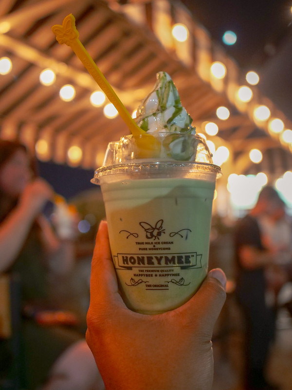 Honeymee Matcha Latte topped with ice cream