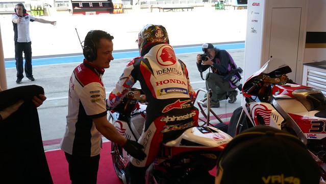 Inside LCR Honda garage