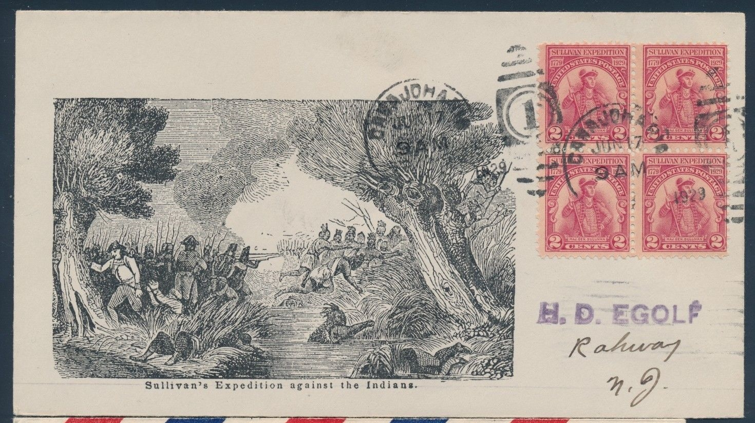 United States - Scott #657 (1929) first day cover, Canajoharie Village postmark