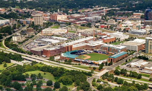 Downtown Durham, NC after the addition of a minor league baseball stadium