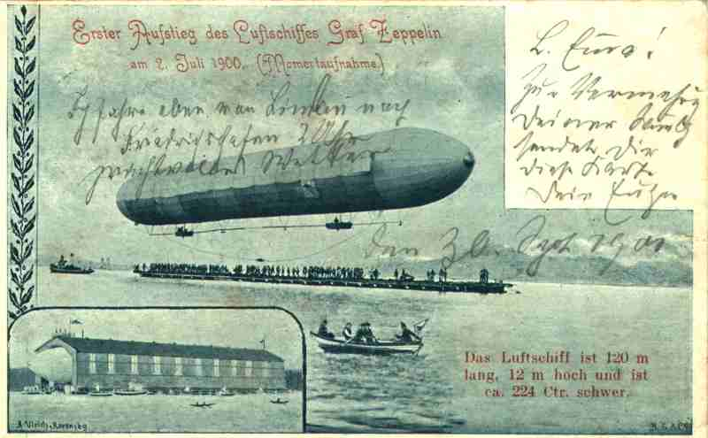 Postcard depicting the first flight of the Zeppelin LZ 1 at Lake Constance on July 2, 1900.