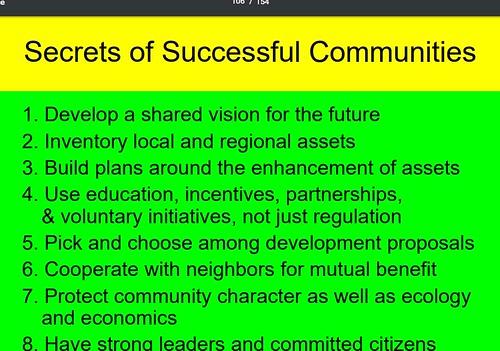 Secrets of Successful Communities, presentation slide, Ed McMahon, Urban Land Institute