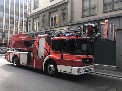 In Attendance - Mercedes Benz Aerial Fire Appliance - Basel Fire Brigade - Switzerland