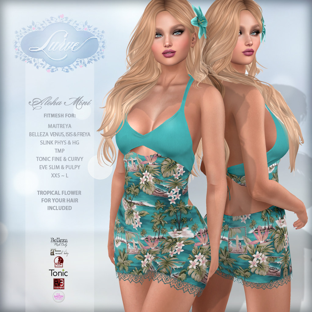 *Lurve* Aloha Love Fitmesh Dress in Aqua - TeleportHub.com Live!