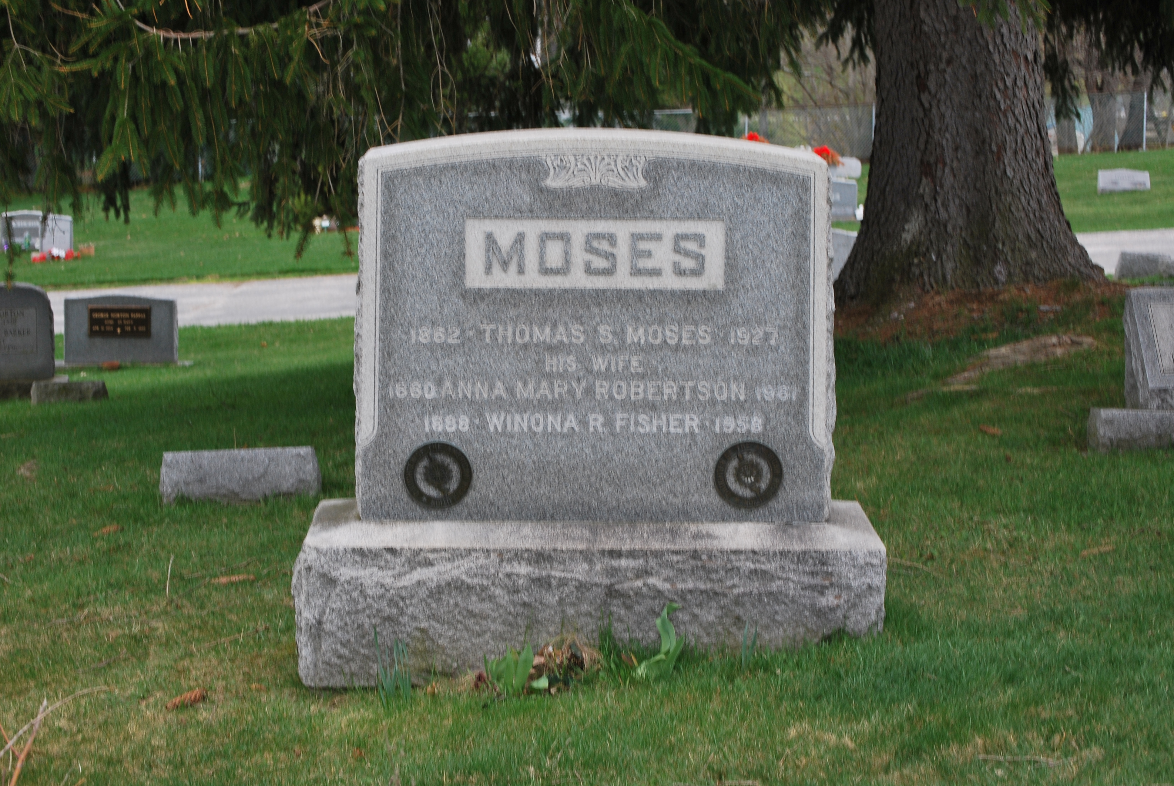 Grave of Grandma Moses in Maple Grove Cemetery in Hoosick Falls, New York. Photo taken on April 9, 2010.