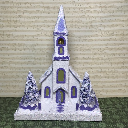 White and Periwinkle Blue Putz Church