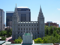 view of Salt Lake Temple from the Conference Center rooftop garden