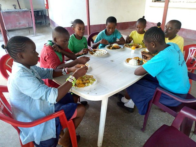 A welcome lunch break for the pupils at Nyeri Music Festival