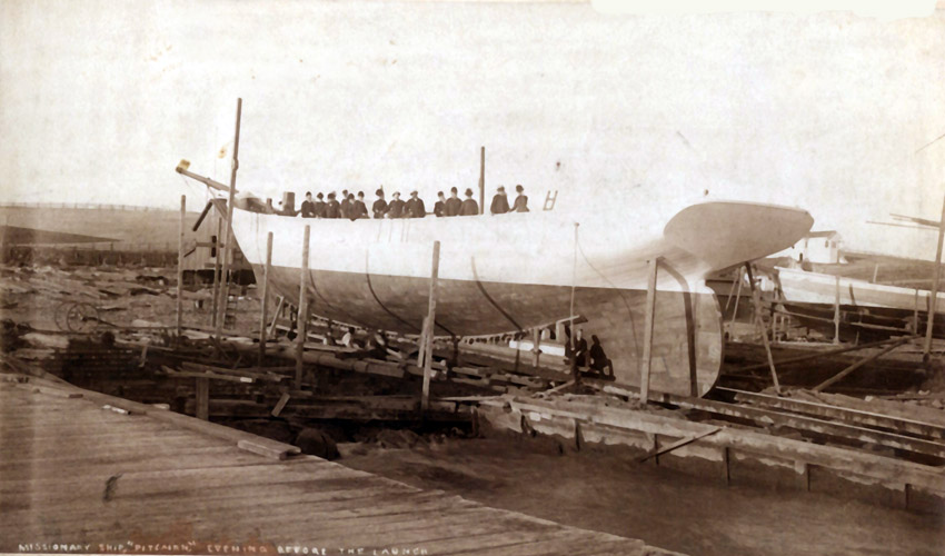 Visitors aboard the hull of the schooner Pitcairn being built in the shipyard of Captain Matthew Turner in Benicia, California, 1890.