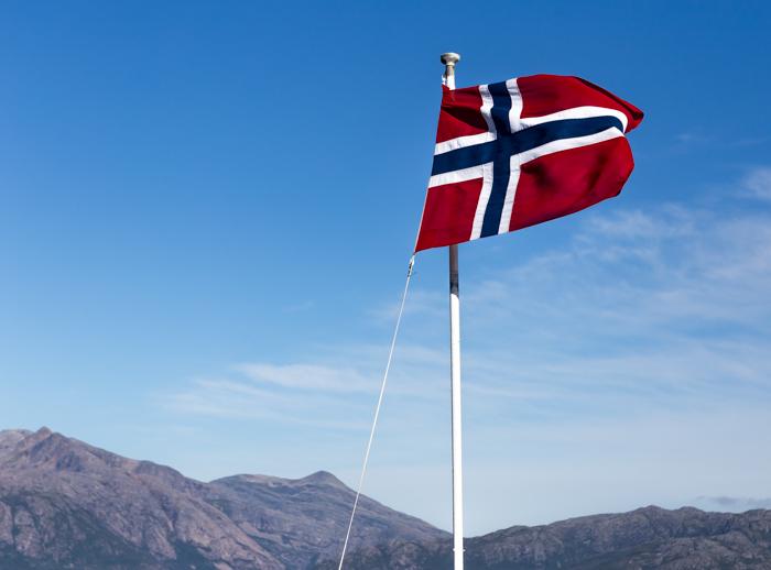 Pohjois-Norja maisema Norway Norjan lippu_