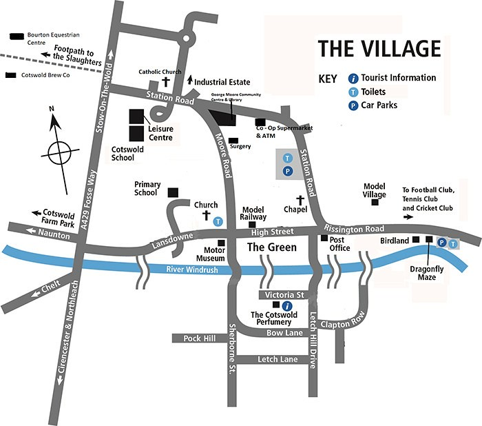Bourton-on-the-Water map