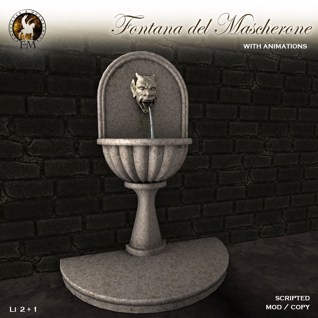 F&M – September GROUP GIFT – Fontana del Mascherone * Medieval Wall Fountain
