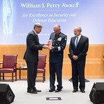 Thu, 09/20/2018 - 14:18 - On Thursday, September 20, 2018, the William J. Perry Center for Hemispheric Defense Studies honored General Salvador Cienfuegos Zepeda, Secretary of National Defense of Mexico, and Escola Superior de Guerra (ESG), National War College of Brazil, with the 2018 William J. Perry Award for Excellence in Security and Defense Education. Named after the Center's founder, former U.S. Secretary of Defense Dr. William J. Perry, the Perry Award is presented annually to individuals who and institutions that have made significant contributions in the fields of security and defense education. From the many nominations received, awardees are selected for achievements in promoting education, research, and knowledge-sharing in defense and security issues in the Western Hemisphere. Awardees' contributions to their respective fields further democratic security and defense in the Americas and, in so doing, embody the highest ideals of the Center and the values embodied by the Perry Award.
