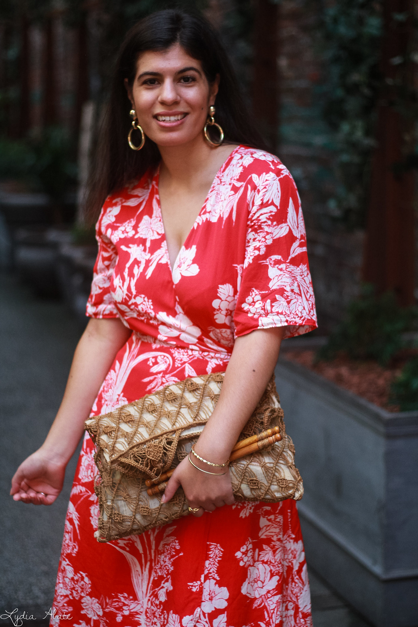 red floral maxi dress, vintage macrame bag, straw wedge sandals-9.jpg
