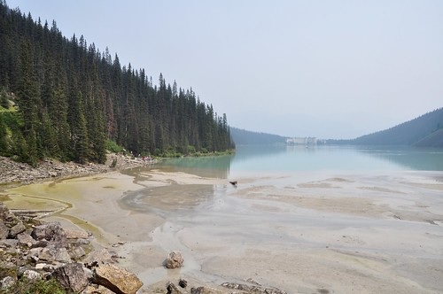 View of Fairmont Lake Louise, across the lake