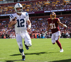 Andrew Luck Almost Tramples the Photographer