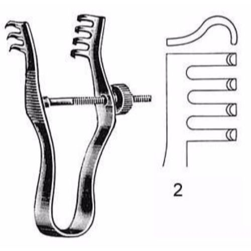 Special Model Retractor 7.0 cm , 3 X 4 Teeth, Blunt