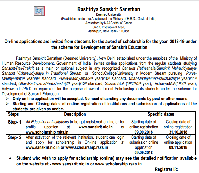 Rashtriya Sanskrit Sansthan Scholarship Notification