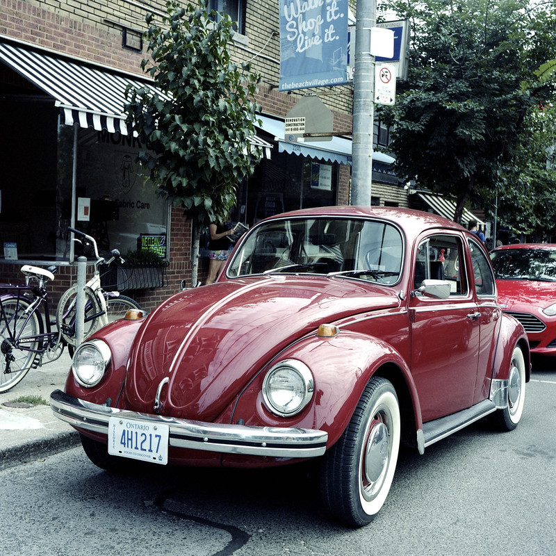 Burgundy 68 VW Beetle