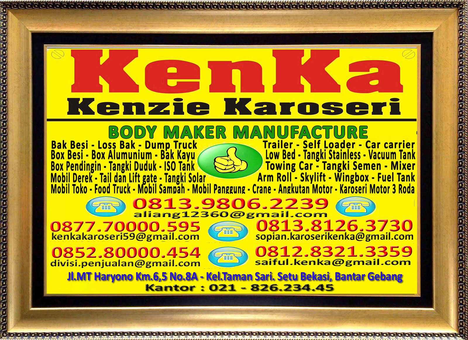 Karoseri Mobil & Truck KenKa - Aliang - Nipo - Sopian - Thamrin - Saiful
