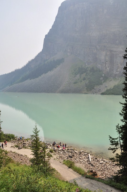 A glimpse of Lake Louise from the trail