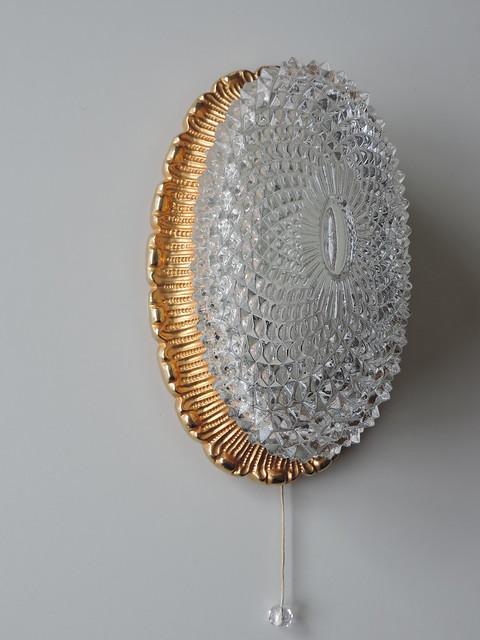 Limburg wandlampe lampe zugschalter metall vergoldet glas vintage wall sconce ebay - Wandlampe mit zugschalter ...