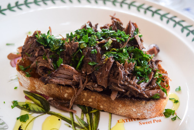 Slow Cooked Pepper Beef on Rosemary Toast with Gremolata