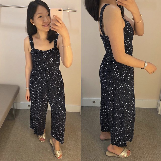 LOFT Dotted Strappy Crop Jumpsuit, size XS regular