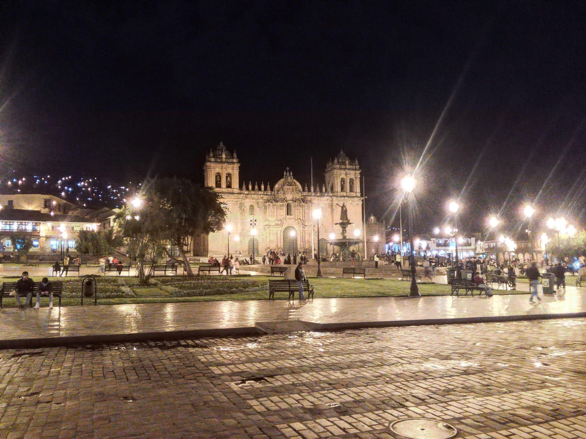 Cusco's Plaza de Armas at night