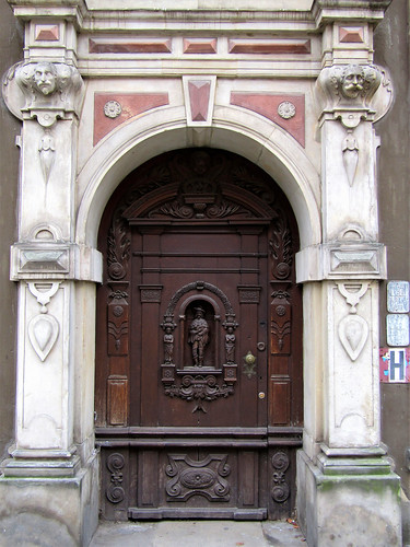 beautiful decorated wooden door in Gdansk