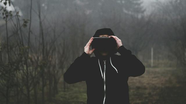 Man wearing virtual reality mask