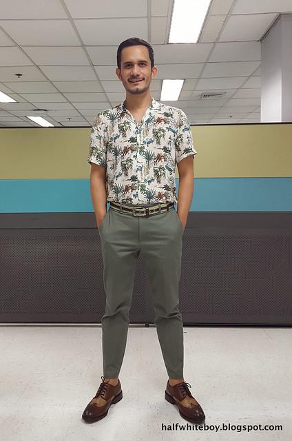 halfwhiteboy - printed cuban shirt and green pants 01