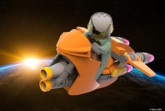 05 RETRO SPACE HEROS SPACEBIKE - Front Perspective Art